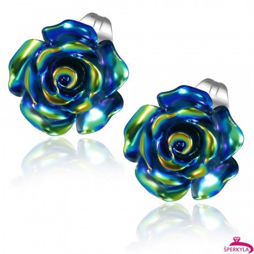Černý perleťový květ - Ocelové náušnice