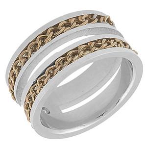 Ocelový prsten, zlacené řetízky v drážkách na plochách prstenu
