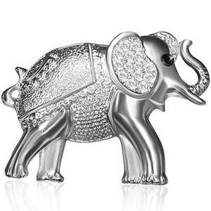 Brož Slon - čiré zirkony