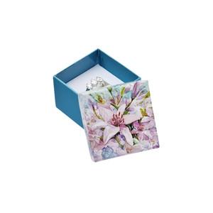 Tyrkysová krabička s květinovým motivem - velká