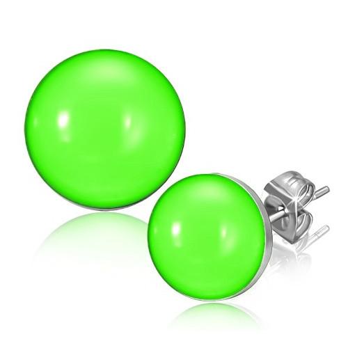 Ocelové náušnice - jasná zelená barva