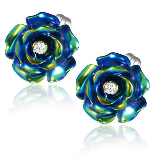 Černý perleťový květ s kamínkem - Ocelové náušnice