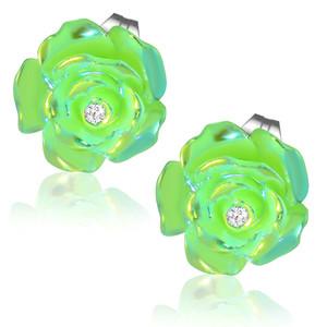 Zelený perleťový květ s kamínkem - Ocelové náušnice