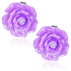 Fialový perleťový květ s kamínkem - Ocelové náušnice