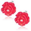 Červený květ s kamínkem - Ocelové náušnice