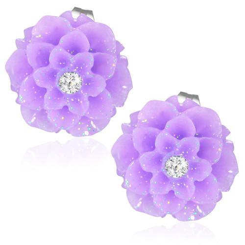 Fialový květ s kamínkem - Ocelové náušnice