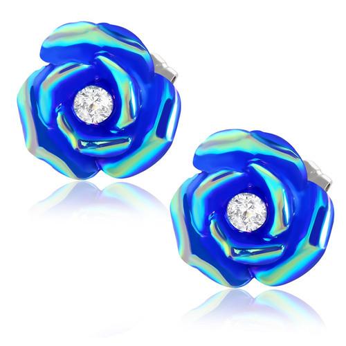 Tmavě modrý květ s perletí a kamínkem - Ocelové náušnice