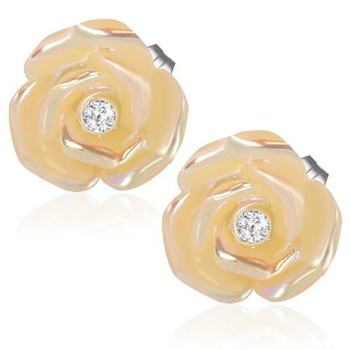 Zlatý květ s perletí a kamínkem - Ocelové náušnice