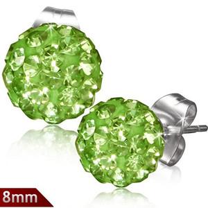 8mm – Světle zelená kulička s kamínky