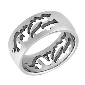Ocelový prsten s vyřezaným motivem