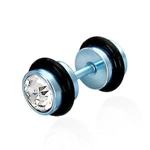 Modrý piercing s čirým zirkonem