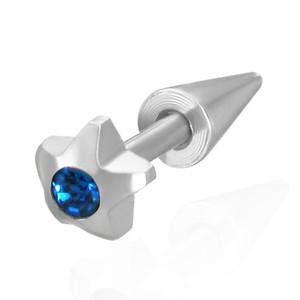 Piercing s hvězkou a modrým zirkonem