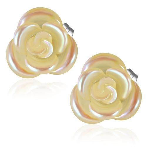 Žlutohnědý perleťový květ - Ocelové náušnice