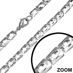 Ocelový řetízek obdelníkový s křížkem