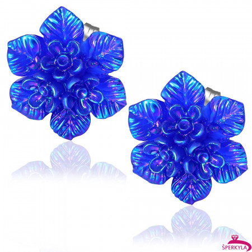 Tmavě modrý květ s perletí - Ocelové náušnice