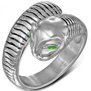 Ocelový prsten had se zelenýma očima