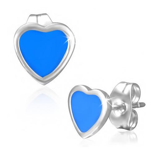 Ocelové náušnice - modré srdíčko