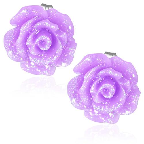 Fialový třpytivý květ růže- Ocelové náušnice