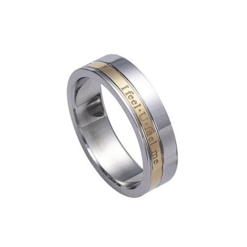 Ocelový prsten s nápisem I FEEL U FEEL ME - RSSG276