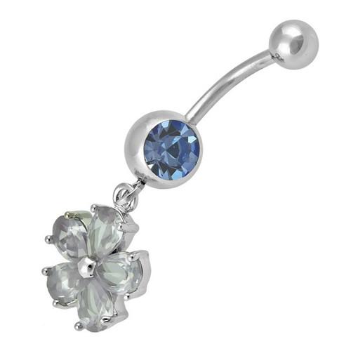 Ocelový piercing Květina, Barva zirkonu: Modrá