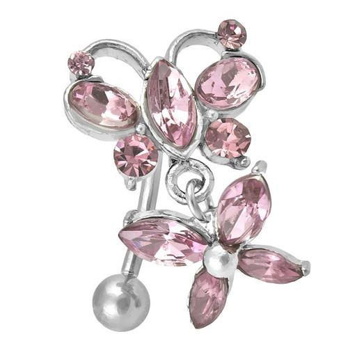 Ocelový piercing, Barva zirkonu: Růžová