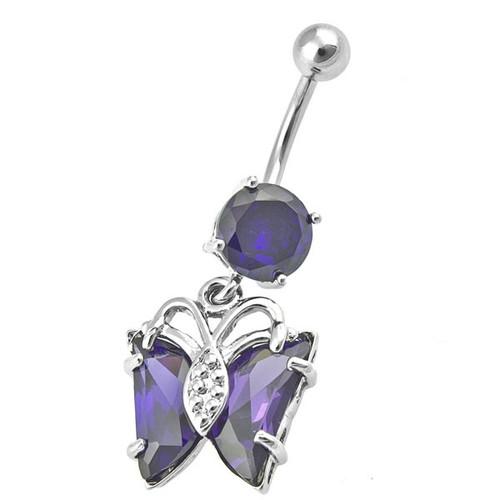 Ocelový piercing Motýl, Barva zirkonu: Fialová