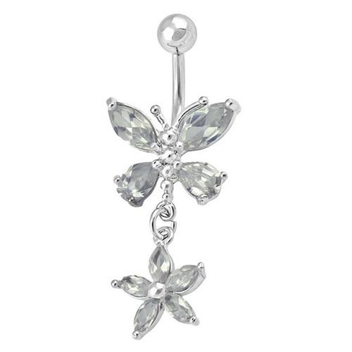 Ocelový piercing Motýl,Květina, Barva zirkonu: Čirá