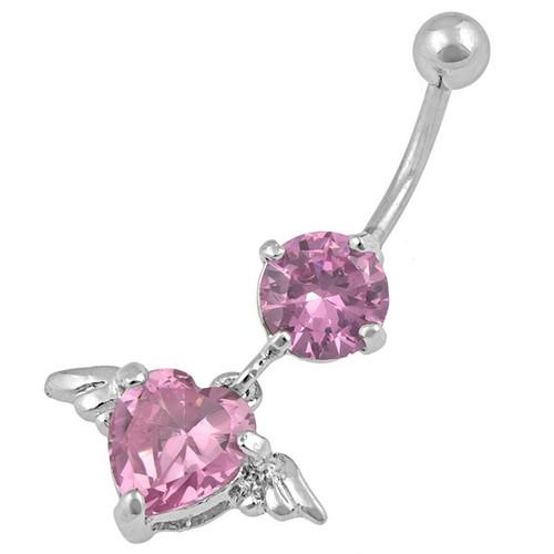 Ocelový piercing Srdce, Barva zirkonu: Růžová