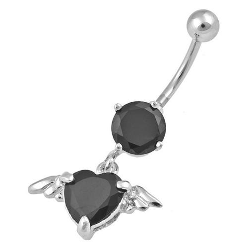 Ocelový piercing Srdce, Barva zirkonu: Černá