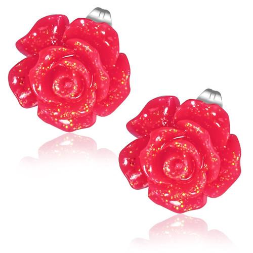Červená květina - Ocelové náušnice