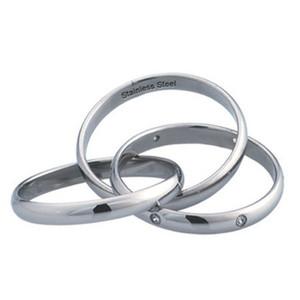 Ocelový prsten - tři prsteny v jednom s zirkony