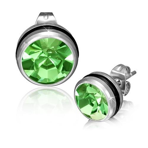 Ocelové náušnice s zeleným zirkonem a pryžovou gumičkou