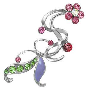 Brož květina - rúžové a zelené zirkony