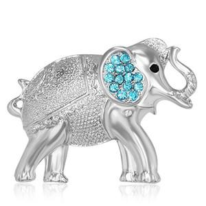 Brož Slon - modré zirkony