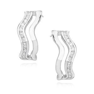 Náušnice - SNEAG0015 - Stříbro 925/1000 - Rhodium - Čirá