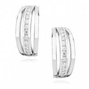 Náušnice - SNEAG0017 - Stříbro 925/1000 - Rhodium - Čirá