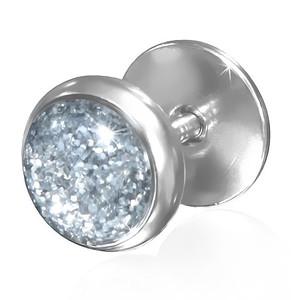 Piercing - stříbrný střed se třpytkami