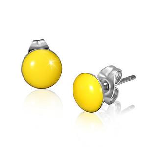 Ocelové náušnice - žlutý a mírně vypouklý povrch