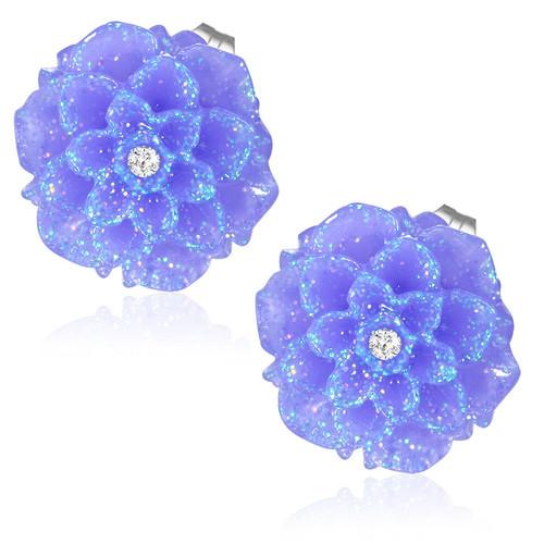 Fialový třpytivý květ s kamínkem - Ocelové náušnice