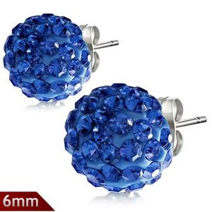 6mm – Světle modrá kulička s kamínky