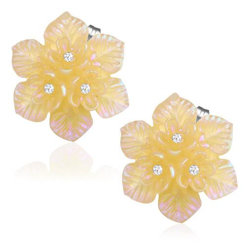 Zlatý třpytivý květ s kamínky - Ocelové náušnice