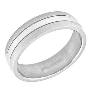 Ocelový prsten, lesklý střed a matné strany