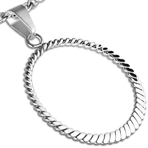 Ocelový přívěsek - kroucený drát do tvaru kruhu, dole lisovaný