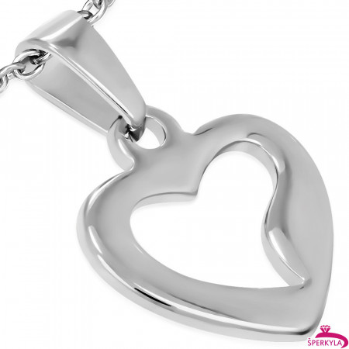 Ocelový přívěsek srdce s vyřezaným středem