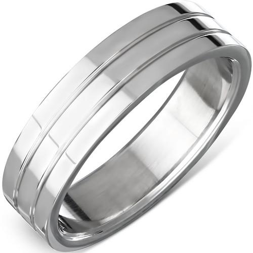 Ocelový prsten s dvěma drážkami
