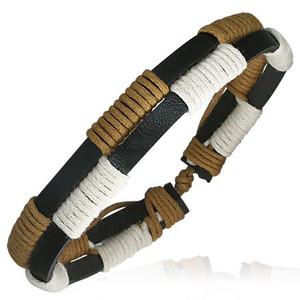 Barevný kožený náramek - bílá, hnědá, černá