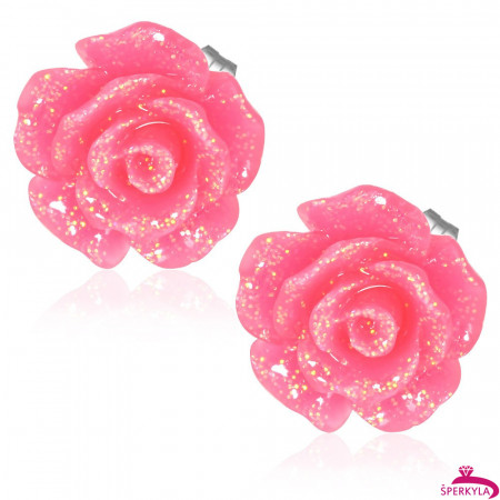 Tmavě růžový třpytivý květ - Ocelové náušnice