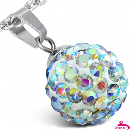 Disco ball ocelový přívěsek - WPA153BA